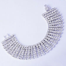 Fashion Womens White Gold Plated 7-Row Clear crystal Watchband Tennis Bracelet