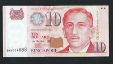 Banknote -Singapore $10 Dollars Portrait Series Lucky Number ONV004888 UNC (#85)