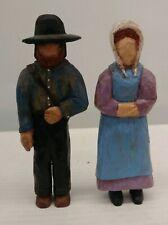 "Vtg Amish Figures Wood Carving Folk Art Couple Signed Dated 6"" Husband Wife AJ"