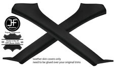 BLACK STITCHING 2X A PILLAR REAL LEATHER COVERS FITS SUBARU FORESTER 2002-2008