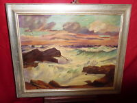 Vintage Oil Painting On Canvas - Oceanscape - Scratches & A Couple Small Holes