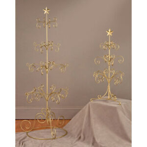 """27"""" Metal Wire 12 Arm Christmas Ball Ornament Jewelry Tree Display Stand Gold"""
