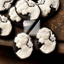 12 Black White Resin Oval Girl lady Vintage Flatback Cabochon Cameo 18x13 RB0710