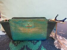 Pour La Victoire Yves Elie Crossbody / Iridescent Clutch Teal Oil Leather HTF!
