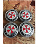 4x 60mm UMBRELLA CORPORATION Silber Emblem Nabendeckel Felgendeckel Logo