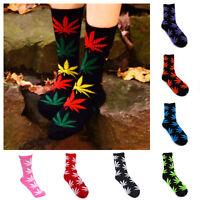 4 Pairs Women Girls Warm Autumn High Leaf Cotton Marijuana Weed Ankles Socks US