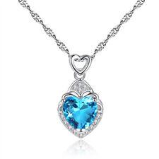 Collier Pendentif Coeur Cristal Swarovski Zirconia Turquoise Or Blanc GF 750*