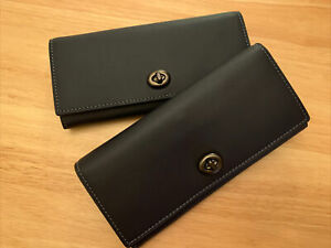 NWT Coach Envelope Wallet in Midnight Blue & Grey Glovetanned Leather 12134 $295
