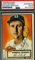 Johnny Schmidt Psa Dna Coa Autograph 1952 Topps Authentic Hand Signed