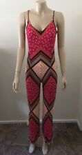 "pre-loved ""Mink Pink"" aztec spaghetti strap jumpsuit pink orange blue sz M"