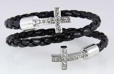 4031261 Black Leather Braid Coil Cross Bracelet Christian Coiled Jesus Fashion