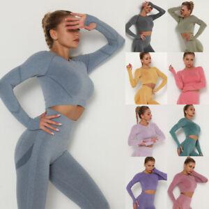 Women Yoga Gym Crop Top Long Sleeve Seamless Sports Shirt Fitness Workout Tank