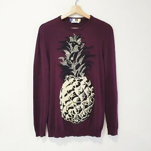 MSGM S/M Maroon Beige Black Pineapple Thin Soft Cotton Knit Sweater Jumper Top