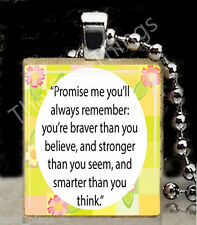 "Custom Scrabble Tile Pendant ""Promise Me...""  Winnie the Pooh Quote Charm Tag F2"