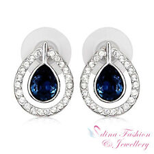18K White Gold GP Made With Swarovski Crystal Teardrop Sapphire Stud Earrings