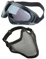 2 in 1 Demi Masque Grillage Lunettes X400 Protection Airsoft Paintball Noir