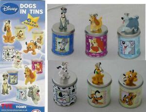 Raro SET 6 Figure DISNEY DOGS TIN BOX Pluto Lady Tramp Dalmatian TOMY Gashapon
