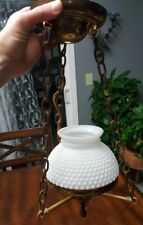 Vintage White Milk Glass Hobnail  Hanging Lamp Chandelier