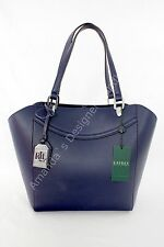 RALPH LAUREN Lexington Shopper TOTE Navy Marine Blue BAG Faux Vegan Leather  NWT aba9075e4a