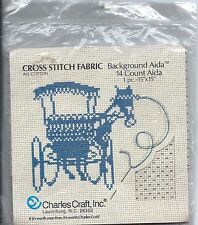 "Charles Craft® 14ct Background Aida Cross Stitch Fabric ~ Green 15""x15"" ~ New"