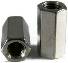 Stainless Steel Coupling Nuts, Threaded Rod UNF,  3/8-24 X 1/2 x 1-1/8, Qty 1