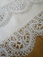Long Antique Ivory Silk Flounce-  Flemish Bobbin Lace Trim
