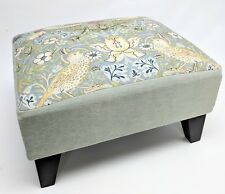 Footstool pouffe William Morris Slate Strawberry thief dark wood British made