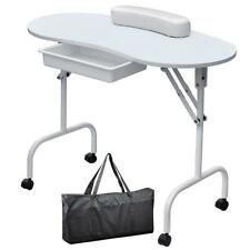 White Professional Portable Foldable Manicure Table Nail Technician Workstation