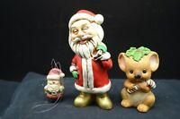 Group of 3 Vtg Christmas Figures-Santa (Japan), Miniature Santa Ornament,&Koala