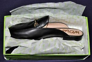 Sam Edelman Womens LINNIE Black Leather Mules Size 10 BRAND NEW with Box