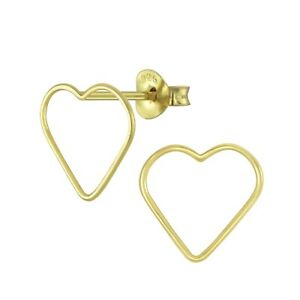 Yellow Gold Plated Open Heart Sterling Silver Stud Earrings 11mm