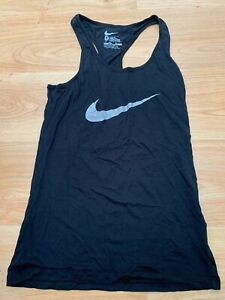Womens Slim Fit Nike Vest Top in Black Silver Gym Running Size Small / 99p start