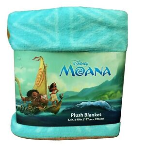Disney Moana Plush Blanket Printed Maui Pua Pig HeiHei 62x90 inches Blue (B15)