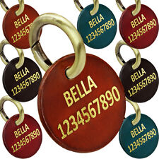 Plain Leather Personalized Dog ID Tag with Engraved Name & Phone Round Shape