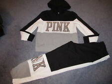 NIP VICTORIA'S SECRET PINK BLING OUTFIT PERFECT PULLOVER L CAMPUS PANT M