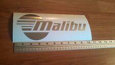 Malibu boat decal in Premium Metallic Silver (chrome) vinyl 10 inch sticker
