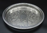 ROUND QUEEN ANN STYLE CHASED PIERCED GALLERY BUTLERS SERVING TRAY SILVER PLATED