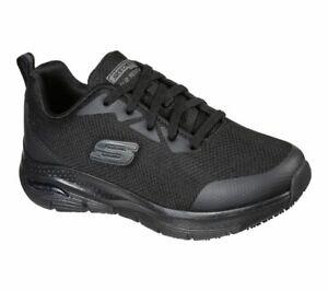 Womens Skechers 108019 Arch Fit SR Slip Resistant Black Work Shoes
