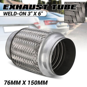 "3"" INCH ID X 6"" INCH Long Stainless Steel Exhaust Flex Joint Tube Pipe Braided"