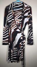 Calvin Klein Animal Print Striped Wrap Dress 14
