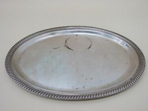 Vintage Fisher Gadroon Border Sterling Silver Scroll Repousse Oval Tray 2202
