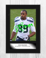 Doug Baldwin (2) NFL Seattle Seahawks A4 signed mounted poster. Choice of frame.