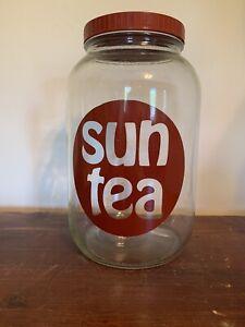 VIntage SUN TEA 1 Gallon Glass Jar 70s 80s RETRO Graphic Beverage Jug