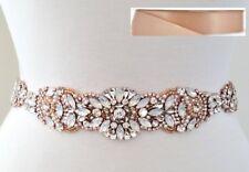 "Wedding Sash Belt - Rose Gold Opal Crystal Pearl BELT = 15 3/4"" long = BLUSH"