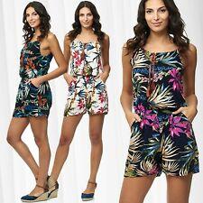Tuta corta da donne Playsuit Summer Jumpsuit Floral Pagliaccetto Pantsuit Fiori