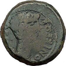 JULIUS CAESAR & AUGUSTUS Roman Coin Nero Countermark Thessalonica i40537Rare