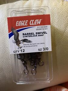 Eagle Claw Fishing 20 Black Barrel Swivels w//Safety Snap Assortment Dial Pack