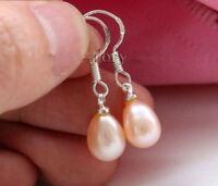 schönes rosa Süßwasser Perle baumeln Ohrringe, around 7-9 mm