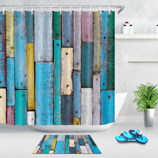 Bathroom Waterproof Fabric Colorful Rustic Wooden Board Wall Shower Curtain Set