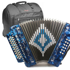 ROSSETTI ACCORDION 34 BUTTON 3 SWITCH GCF 12 BASS SOL BLUE + STAGG PADDED BAG